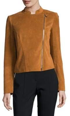 Lafayette 148 New York Cropped Moto Leather Jacket