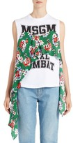 MSGM Women's Floral Fabric Muscle Tee