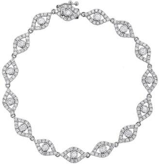 Sydney Evan Large Diamond Bezel Evil Eye Bracelet - White Gold
