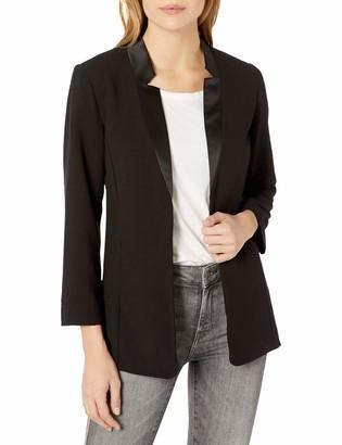 Kensie Women's Stretch Crepe Satin Collar Blazer