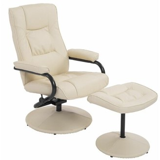 """Winston Porter Hillsg 19.9"""" Ergonomic Manual Recliner with Ottoman Fabric: Brown Faux Leather"""