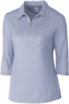 Cutter & Buck Periwinkle Blaine Oxford Zip-Front Polo