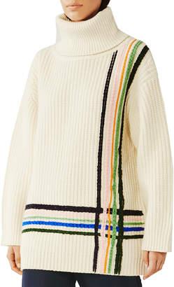 Tory Sport Multi Stripe Merino Wool Oversized Turtleneck Sweater
