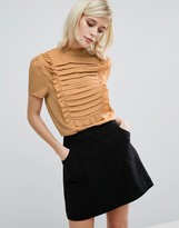 Fashion Union High Neck Top With Frill Bib Detail