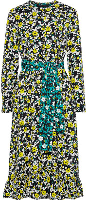Proenza Schouler Belted Ruffle-trimmed Printed Crepe Midi Dress