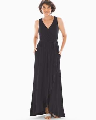 Soft Jersey Ruffle Border Maxi Dress Black