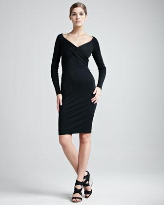Donna Karan Jersey V-Neck Dress