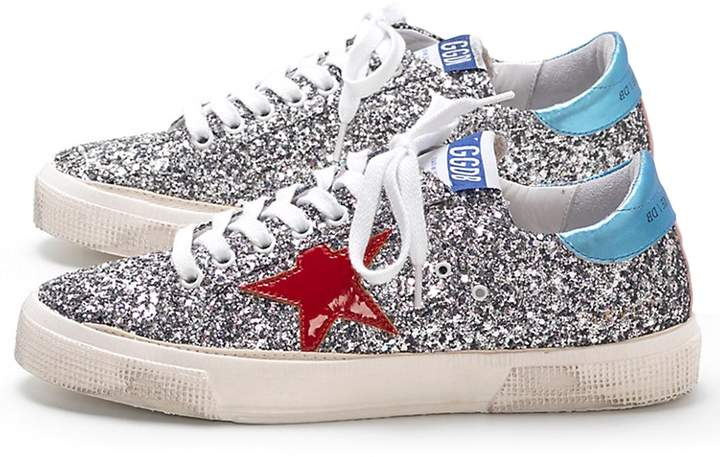 Golden Goose May Sneakers in Glitter/Red Star