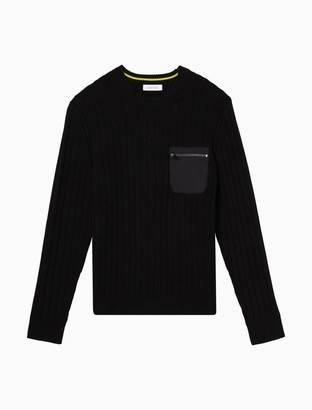Calvin Klein Ribbed Woven Zip Pocket Crewneck Sweater