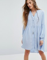 Glamorous Smock Dress With Blouson Sleeves In Light Textured Fabric
