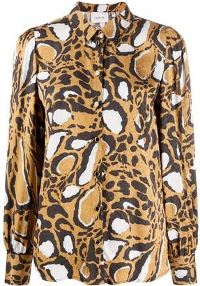 Gestuz Animal-Print Long-Sleeved Shirt