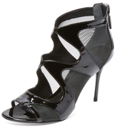 Alexander McQueen Patent Leather & Mesh Sandal