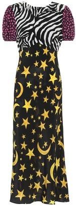 Rixo Winnie printed silk midi dress