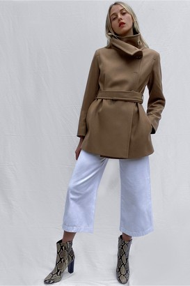 French Connection Ricio Platform Wool Wrap Coat