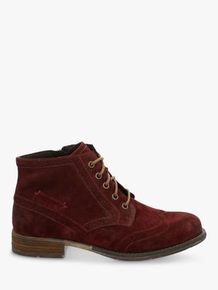 Josef Seibel Sienna 74 Suede Brogue Ankle Boots, Carmin