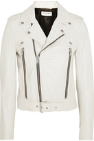 Saint Laurent Leather Biker Jacket - White