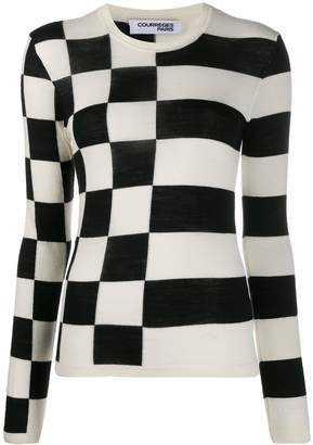 Courreges Asymmetric Pattern Crew Neck Jumper