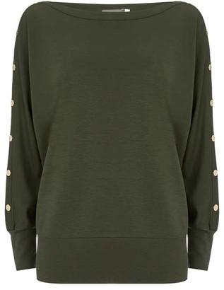 Mint Velvet Khaki Studded Batwing T-Shirt