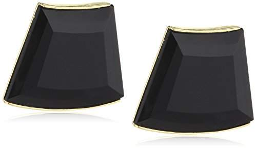 Wouters & Hendrix Women's Yellow Gold Plated 925 Sterling Silver and Copper Jet Stone Clip Earrings