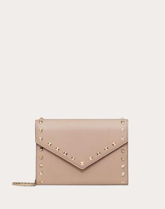 Valentino Rockstud Grainy Calfskin Wallet With Chain Strap Women Poudre 100% Pelle Di Vitello - Bos Taurus OneSize