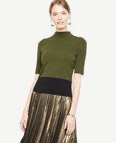 Ann Taylor Colorblock Ribbed Mock Neck Sweater