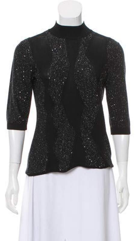 256b9b9e2 Sequin And Glitter-Embellished Sweater Black Sequin And Glitter-Embellished  Sweater