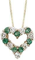 KATARINA 14K Yellow Gold 1/4 ct. Diamond with Alternating 3/8 ct. Emerald Heart Pendant with Chain