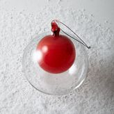 Double Glass Sphere Ornament - Red