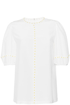 Dolce & Gabbana Silk Short Sleeved Blouse with Daisies