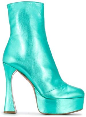 Amina Muaddi Dua platform ankle boots