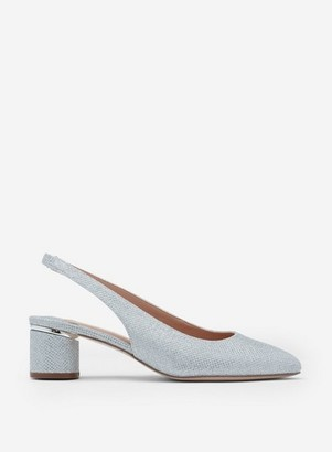 Dorothy Perkins Womens Wide Fit Silver 'Dollar' Court Shoes, Silver