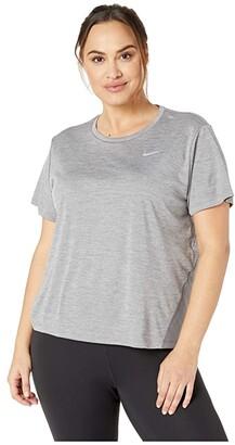 Nike Dry Miler Top Short Sleeve (Size 1X-3X) (Gunsmoke/Heather/Reflective Silver) Women's Clothing
