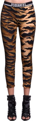 DSQUARED2 Animalier Print Cotton Jersey Leggings