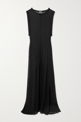 Oseree Paneled Chiffon Maxi Dress - Black