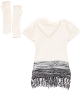 Dollhouse White & Black Ombré Sweater Dress & Gloves - Toddler & Girls