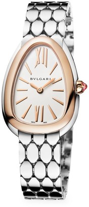 Bvlgari Serpenti Seduttori 18K Rose Gold & Stainless Steel Bracelet Watch