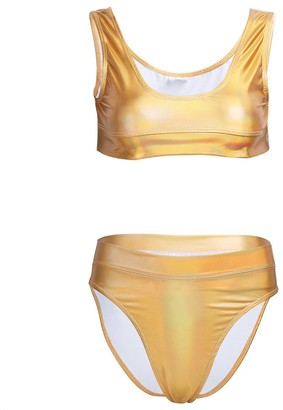 inhzoy Women's 2 Pieces Metallic Holographic Patent Leather Rave Festival Bikini Set Crop Top with High Waist Shorts Swimsuit Silver A L