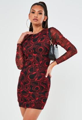 Missguided Red Snake Print Mesh Crew Neck Mini Dress