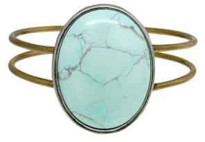 T.r.u. by 1928 Brass Silver Tone Genuine Howlite Dyed Turquoise Oval Hinged Bracelet