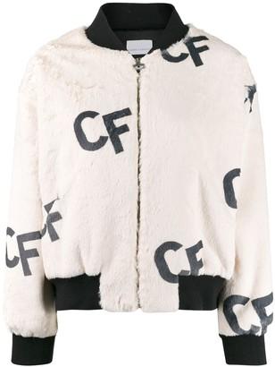 Chiara Ferragni printed CF bomber jacket