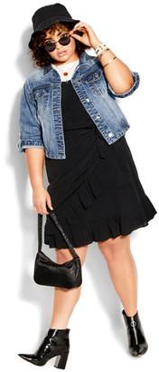 City Chic Denim Short Sleeve Jacket - light denim