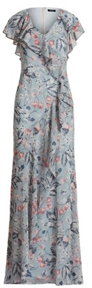 Ralph Lauren Floral Ruffle-Trim Georgette Gown