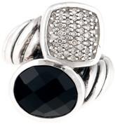 David Yurman Sterling Silver 0.25ct. Diamond and Black Onyx Bypass Ring Size 6