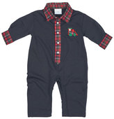 Florence Eiseman Long-Sleeve Plaid-Trim Jersey Coverall, Navy, Size 3-12 Months