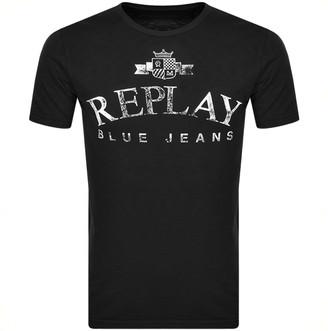 Replay Crew Neck Logo T Shirt Black