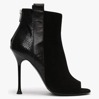 Daniel Vate Black Suede Peep Toe Shoe Boots