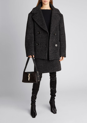 Proenza Schouler Plaid Wool Pea Coat Jacket