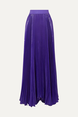 Alice + Olivia Katz Pleated Metallic Silk-blend Maxi Skirt - Purple