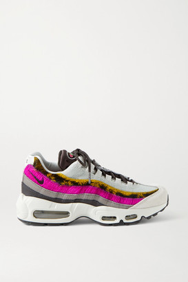 Nike Air Max 95 Mesh, Suede, Calf Hair And Leather Sneakers - White