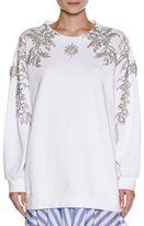Francesco Scognamiglio Embellished Oversize Sweatshirt, White